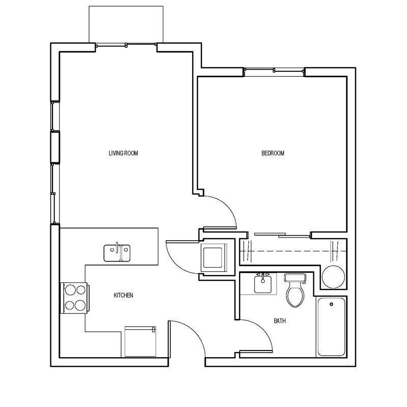 Bamboo Court Portland 1 bedroom floor plan